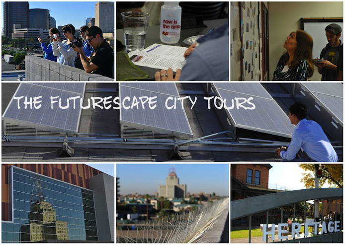 Collage of images from the Futurescape City Tours project