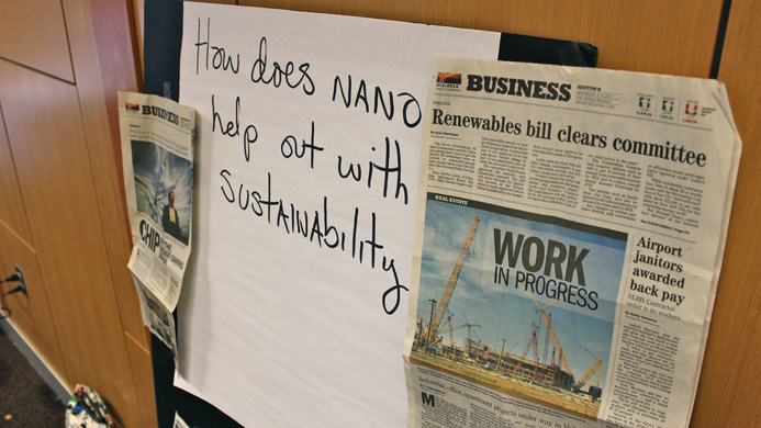 A poster that says 'how does nano help out with sustainability?'