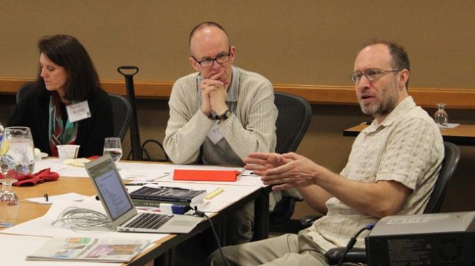 Workshop participants at a table